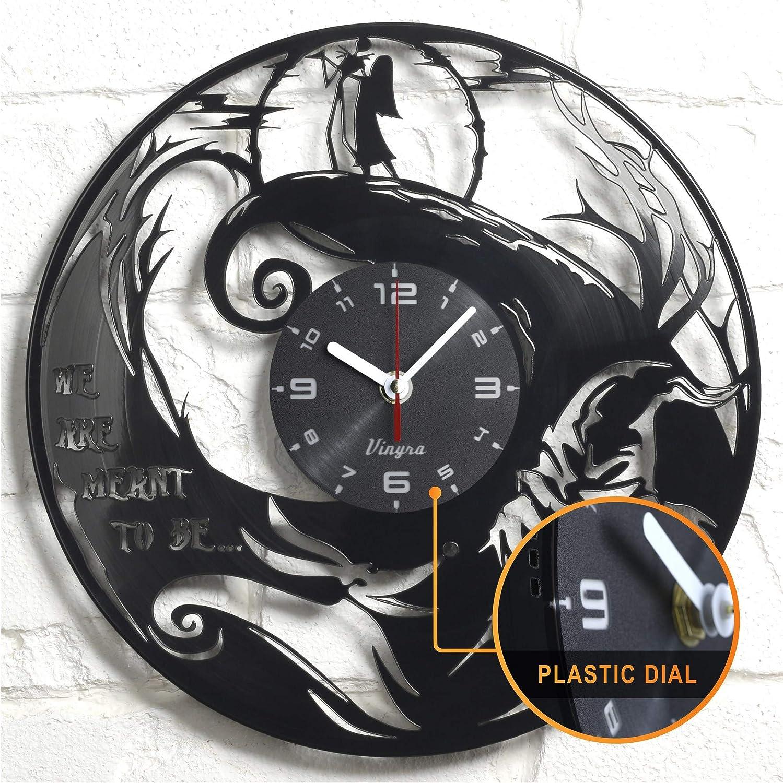 "Vinyra Vinyl Wall Clock compatible with Jack Skellington and Sally Nightmare Before Christmas Disney Cartoon themed room - Vinyl Clock Gift Idea Nursery Decor - 12"" LP Record Clock, Black"