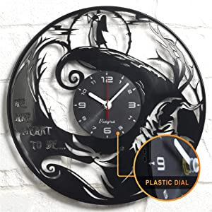 "Vinyra Vinyl Wall Clock compatible with Jack Skellington and Sally Nightmare Before Christmas Disney Cartoon themed room - Vinyl Clock Gift Idea Nursery Decor - 12"" LP Record Clock, Black"