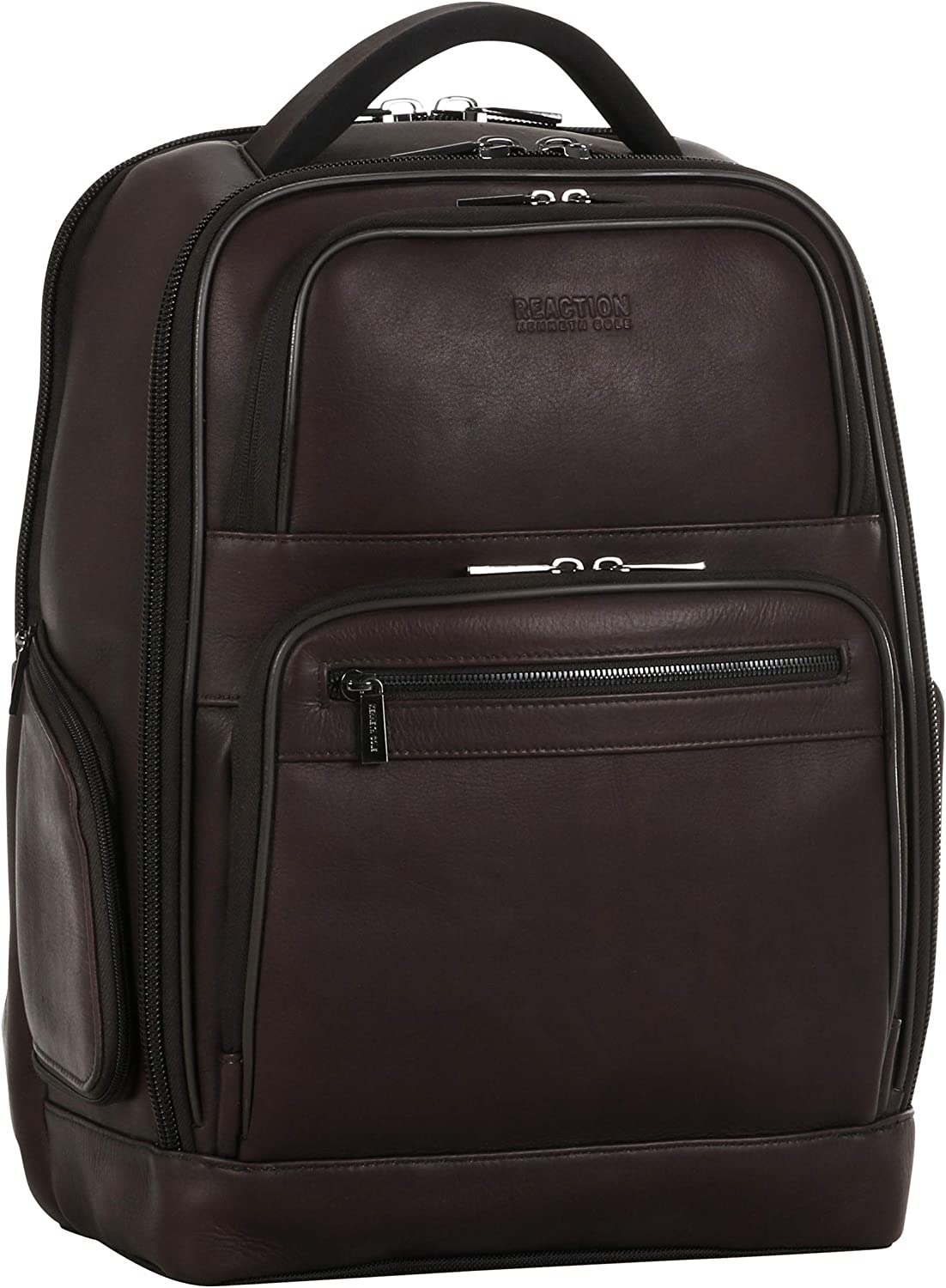 "Kenneth Cole Reaction Colombian Leather Dual Compartment 15.6"" Laptop Anti-Theft RFID Business Backpack, Brown"
