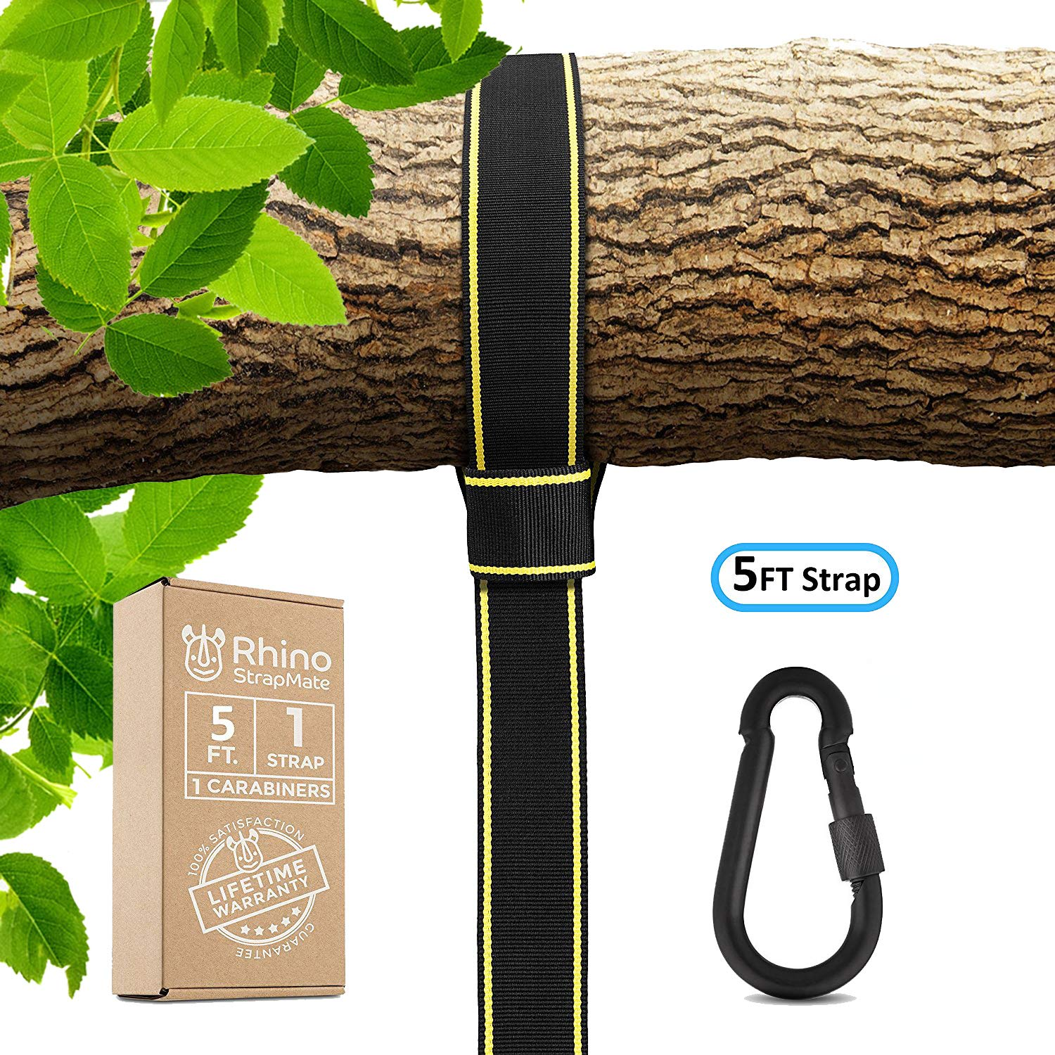 Overmont Tree Swing Hanging Straps Holds 2000 lbs,5ft Extra Long Swing Hanging Strap Kit with Safer Lock Snap Carabiner Hooks Perfect for Tree Swing /& Hammocks Perfect For Swings 5ft - Black