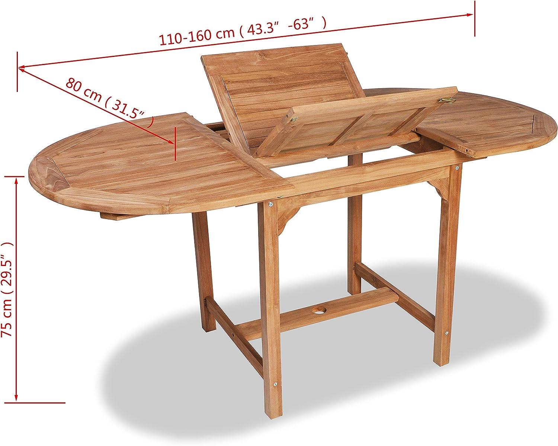 vidaXL Mesa Extensible para Exterior de Teca (110-160) x80x75 cm ...