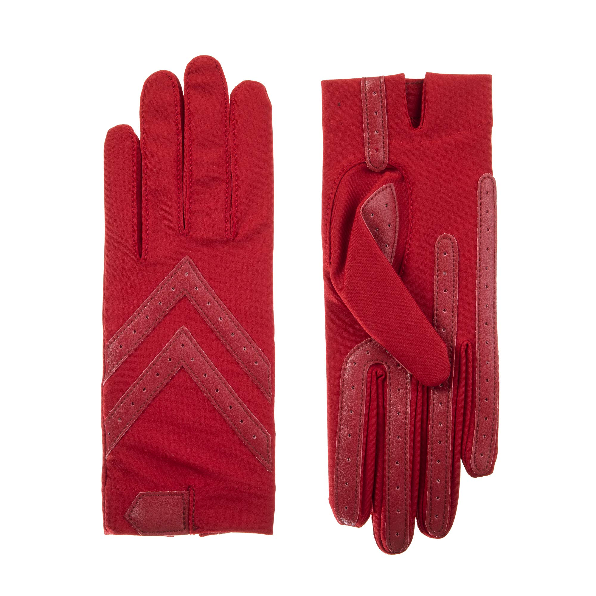 isotoner Women's Spandex Stretch Shortie Cold Weather Gloves with Leather Palms and Chevron Details, smartDRI Red, Small/Medium by ISOTONER
