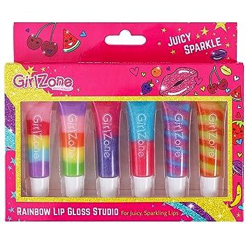 GirlZone Rainbow Fruit Lip Gloss Makeup Gift Set For Girls Christmas Birthday Gifts Present