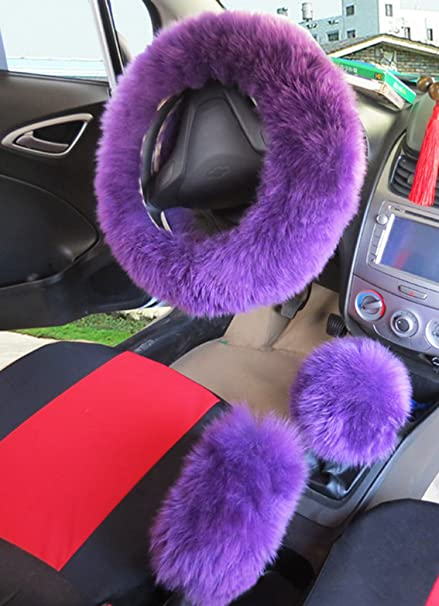 youarefacny faux fur steering wheel cover warm faux wool handbrake