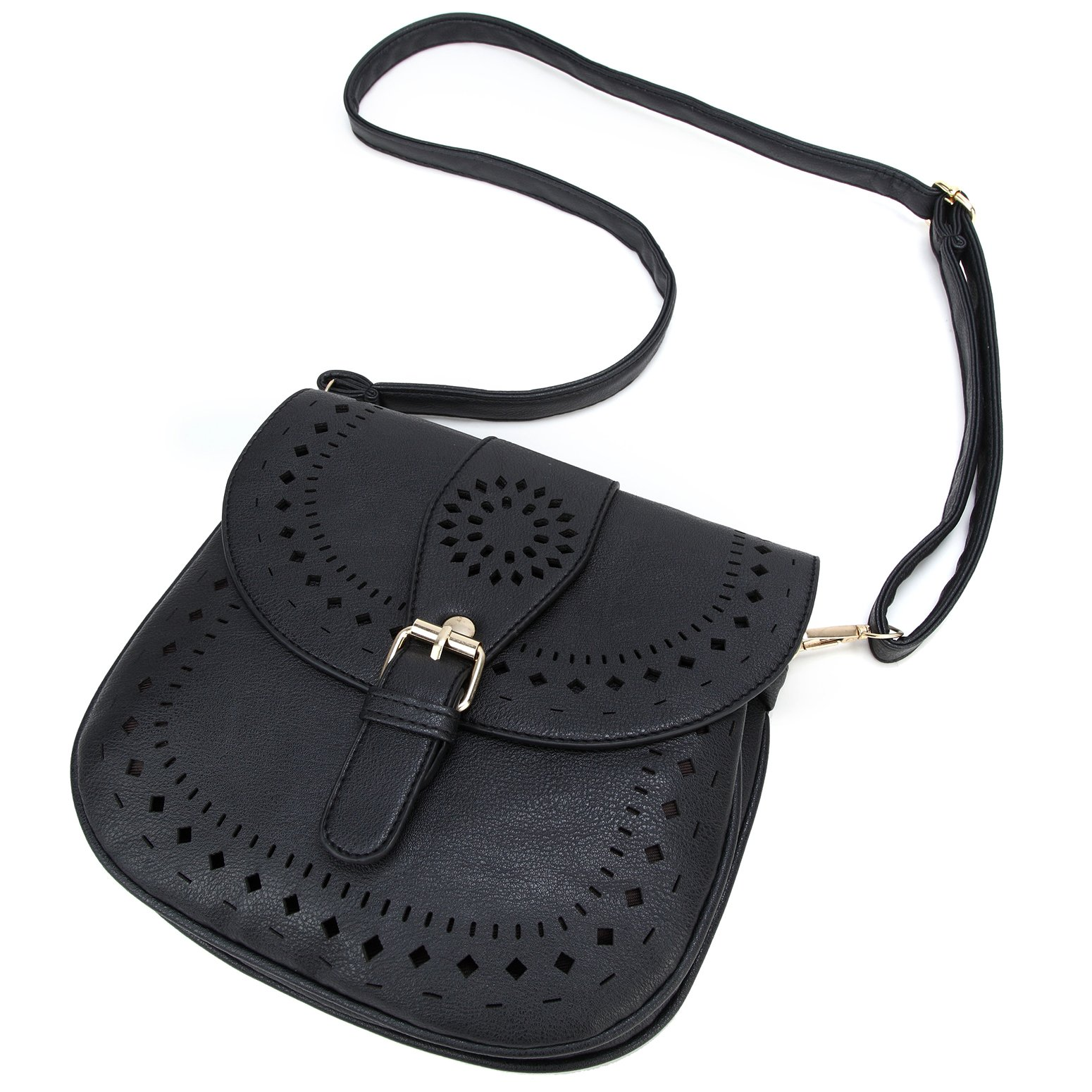Forestfish Ladie's PU Leather Vintage Hollow Bag Crossbdy Bag Shoulder Bag (Black) by Forestfish (Image #2)