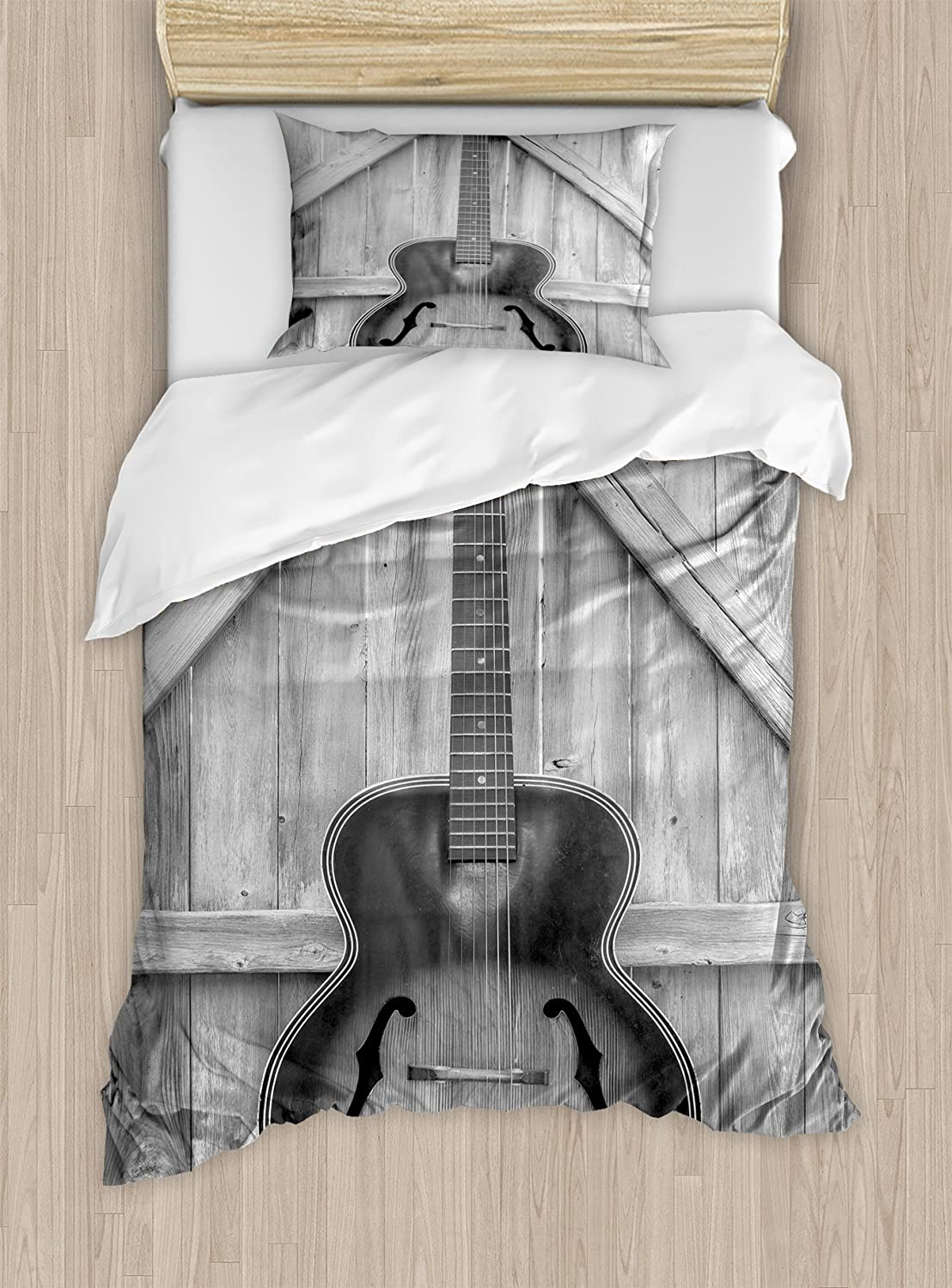 Ambesonne Western Duvet Cover Set, Vintage Acoustic Instrument Guitar Hanged on Old Wooden Door Fences Country Ranch, Decorative 2 Piece Bedding Set with 1 Pillow Sham, Twin Size, Black Grey
