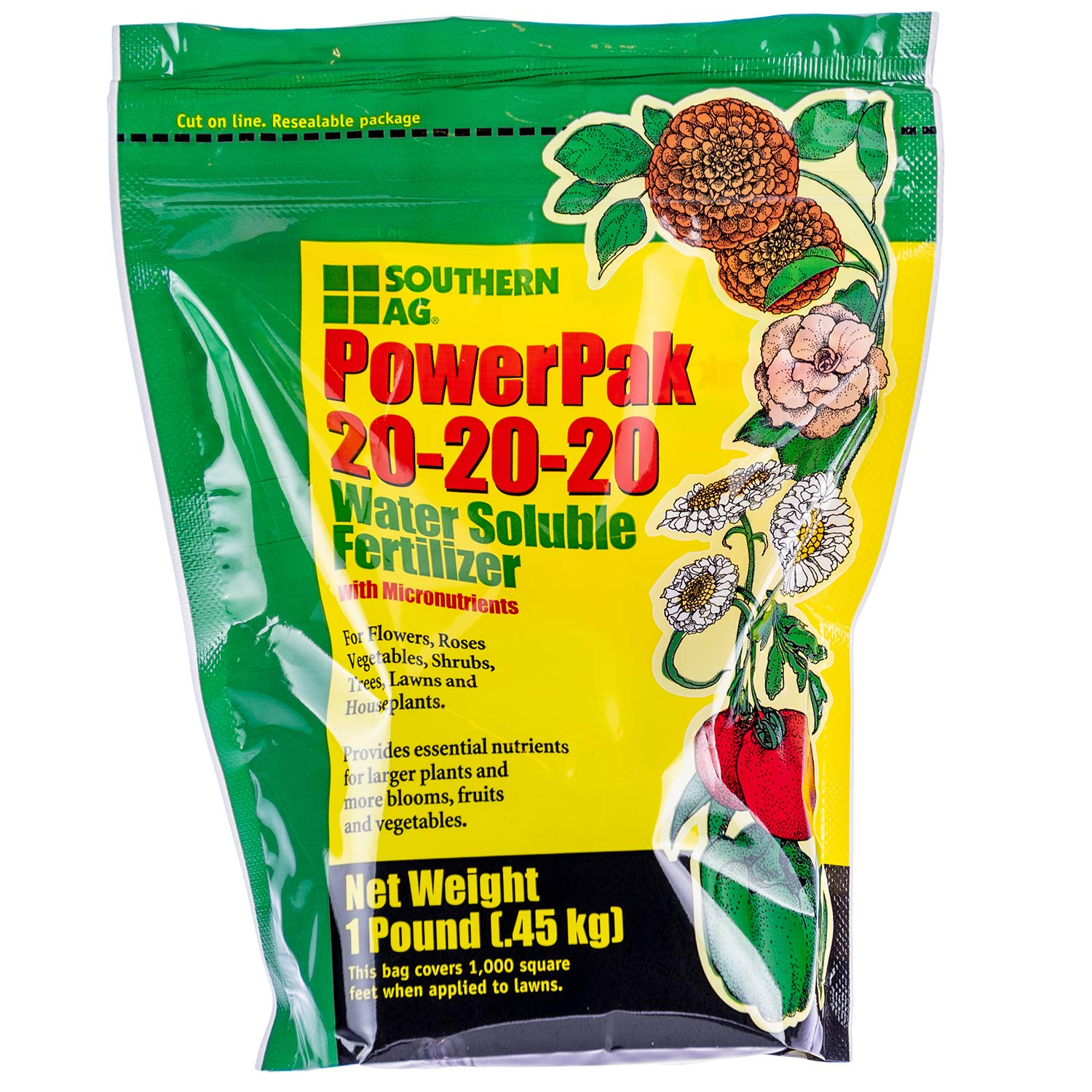 Southern Ag PowerPak 20-20-20Water Soluble Fertilizer w/micronutrients, 1lb bag