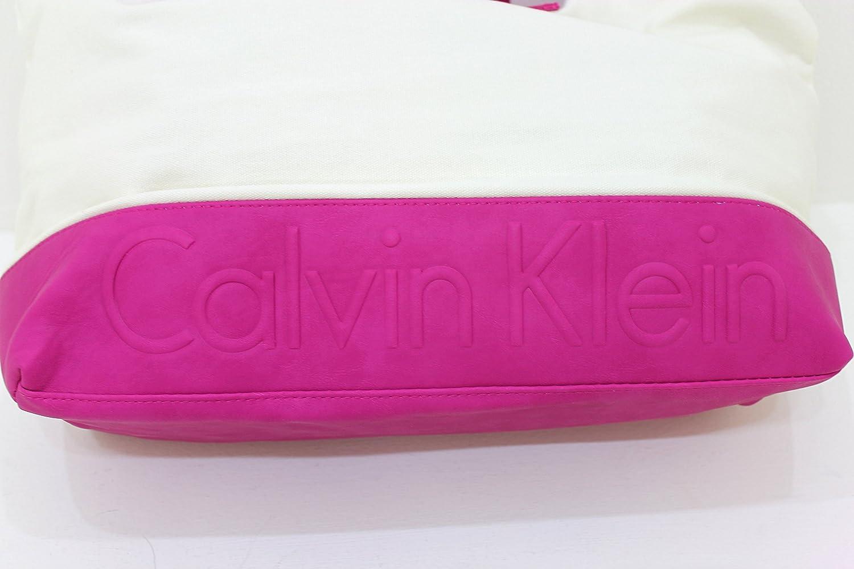 Calvin Klein Euphoria Magenta rosa y crema bolso de mano/playa/bolso/bolso de la compra: Amazon.es: Zapatos y complementos