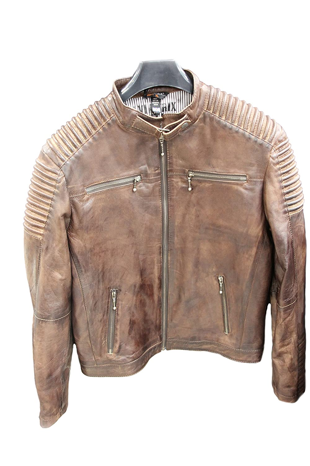 Mens Fitted Retro Style Zipped Biker Jacket Real Leather Tan Nevada Brown
