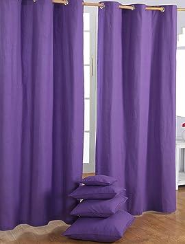 homescapes par de cortinas opacas decorativas 100 algodn con ojales en color morado 137