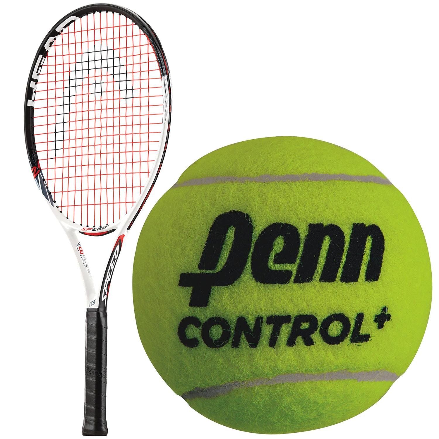 HEAD Speed Comp 26 Inch Junior Tennis Racquet bundled with a 3 Pack of Penn Control+ Green Dot Tennis Balls