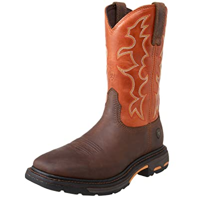 Ariat Men's Workhog Wide Square Toe Work Boot, Dark Earth/Brick, 8 2E