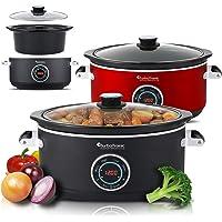 Turbotronic SC200 digitale slow cooker 6,5 l met timer, warmhoudfunctie, stoompan, stoofpan, tuinpan, sous-vide kookpan…