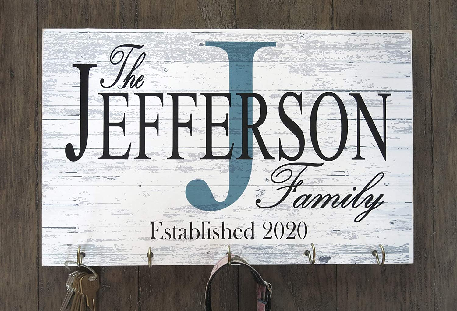 Family Name Sign Key Holder or Leash Hook Personalized Monogram Custom Wedding Gift Solid Wood Established Date EST. Rustic Farmhouse Wall Decor