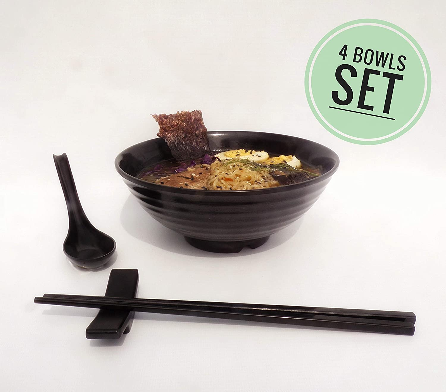 4 set (16 piece) Ramen Bowl Set, Asian Japanese Style with Spoons Chopsticks and Stands, Restaurant Quality Melamine, Large 32 oz for Noodles, Pho, Noodle, Udon, Thai dinnerware for any Soup Meal