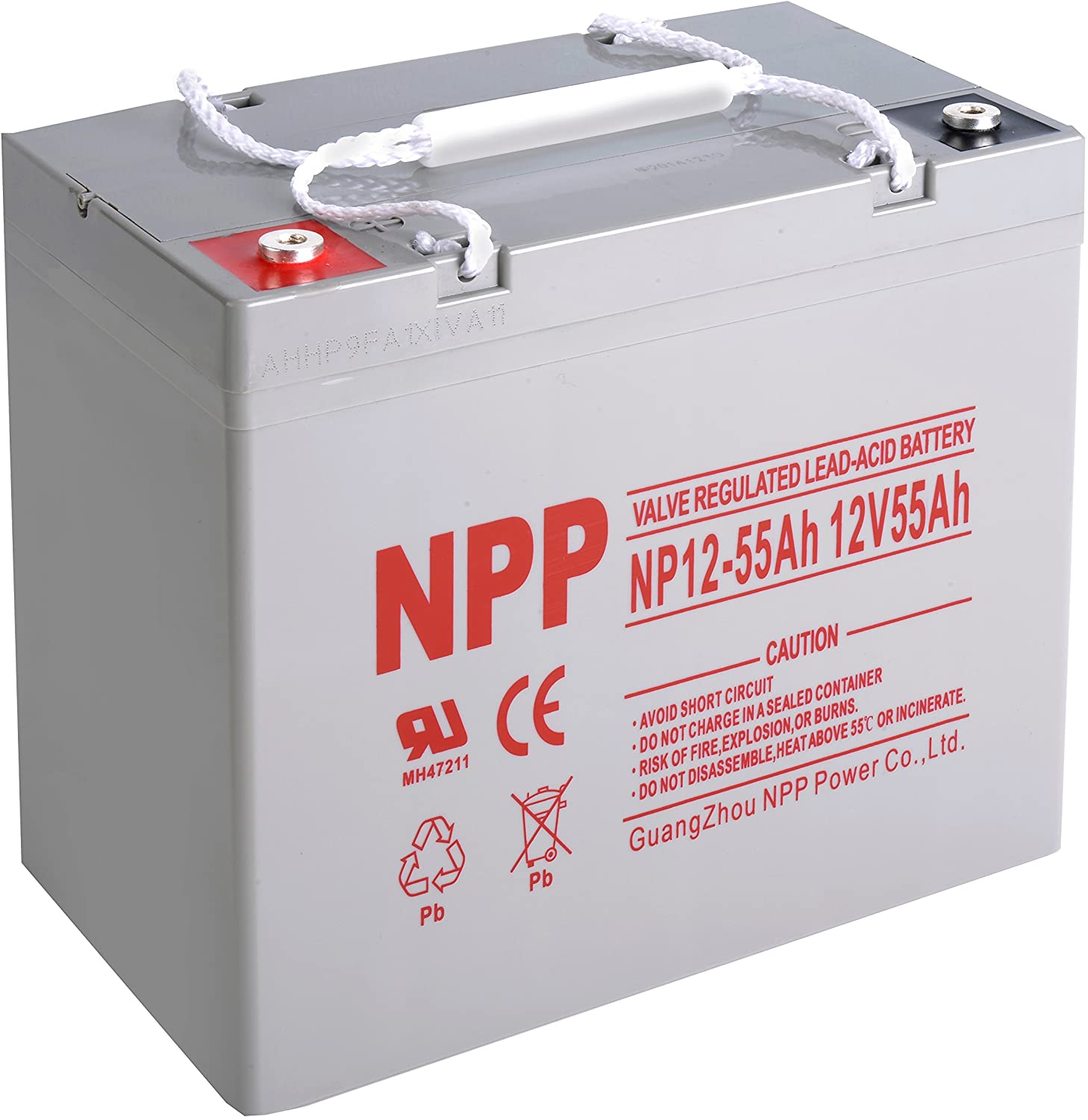 NPP NP12-55Ah Rechargeable AGM SLA 12V 55Ah Battery with Button Style Terminals
