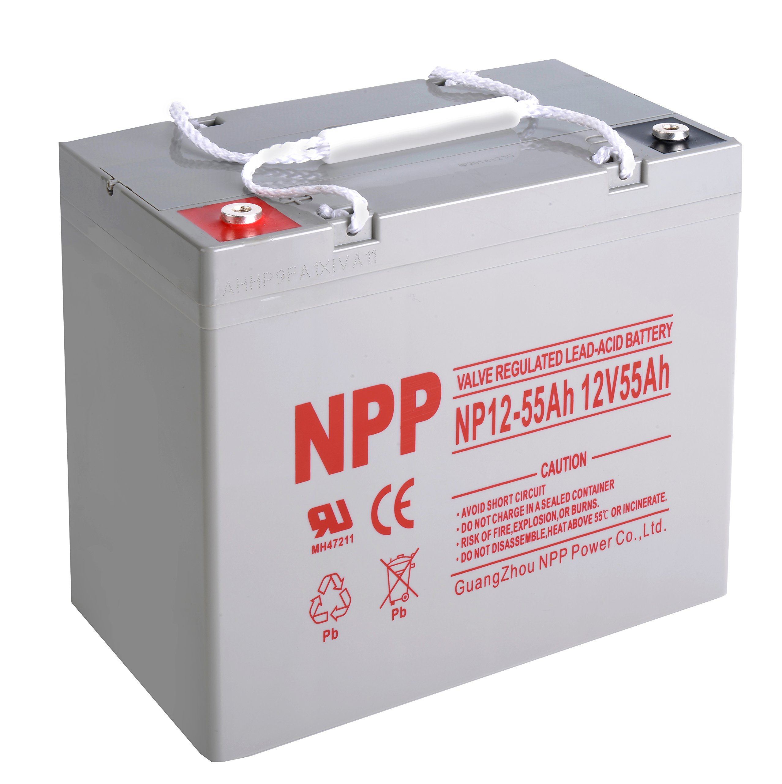 NPP NP12-55Ah Rechargeable AGM SLA 12V 55Ah Battery with Button Style Terminals by NPP