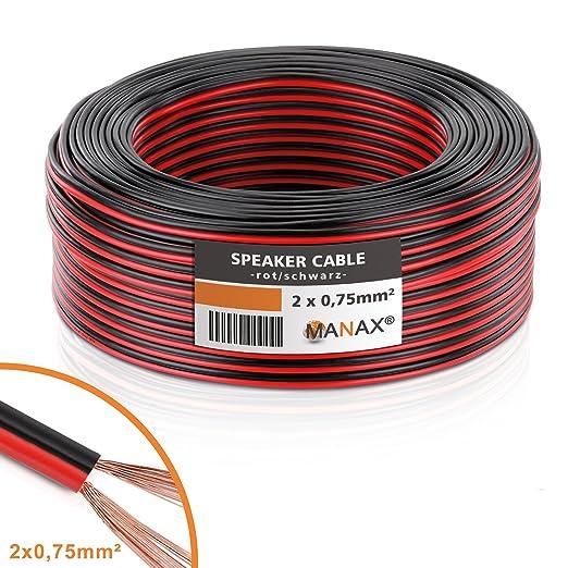 35 opinioni per MANAX® cable del altavoz 2 x 0,75 mm² rojo/negro 25,0 m anillo