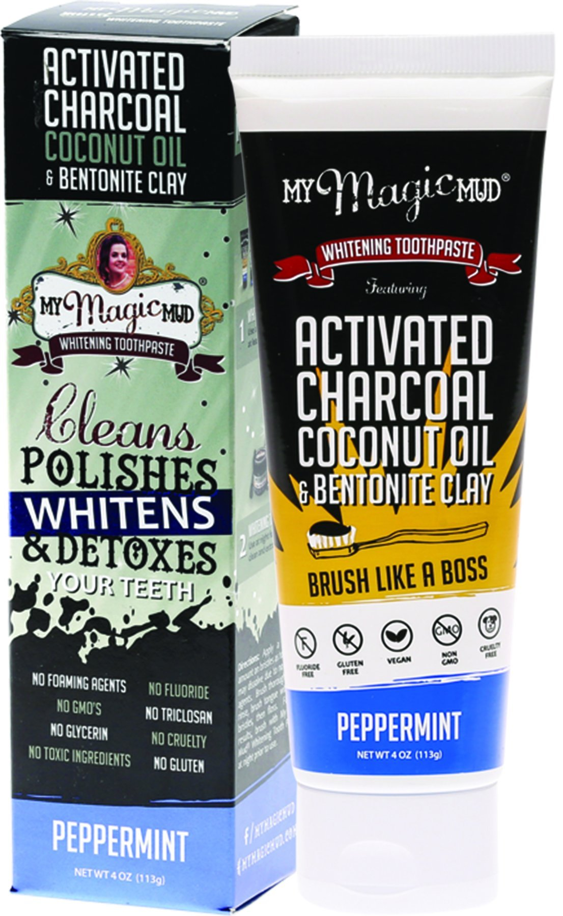 My Magic Mud Activated Charcoal Toothpaste Peppermint (4 oz)