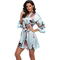 Mignon Cromwell Women's Short Bridesmaids Robe Floral Satin Kimono Dressing Gown with Pockets