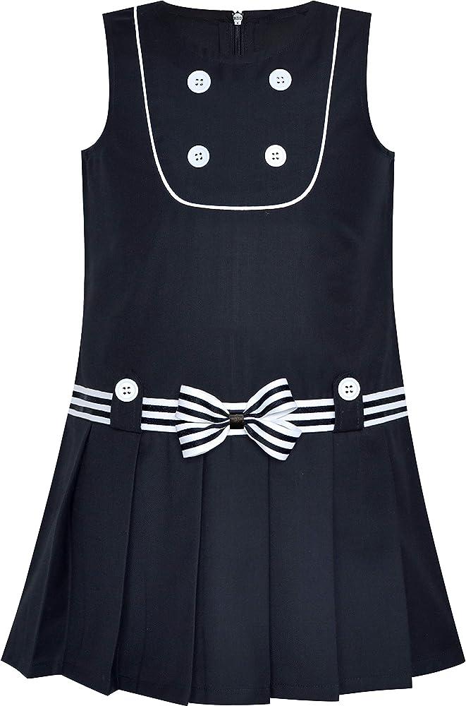 Sunny Fashion Vestido para niña Alinear Uniforme Escolar Plisado ...
