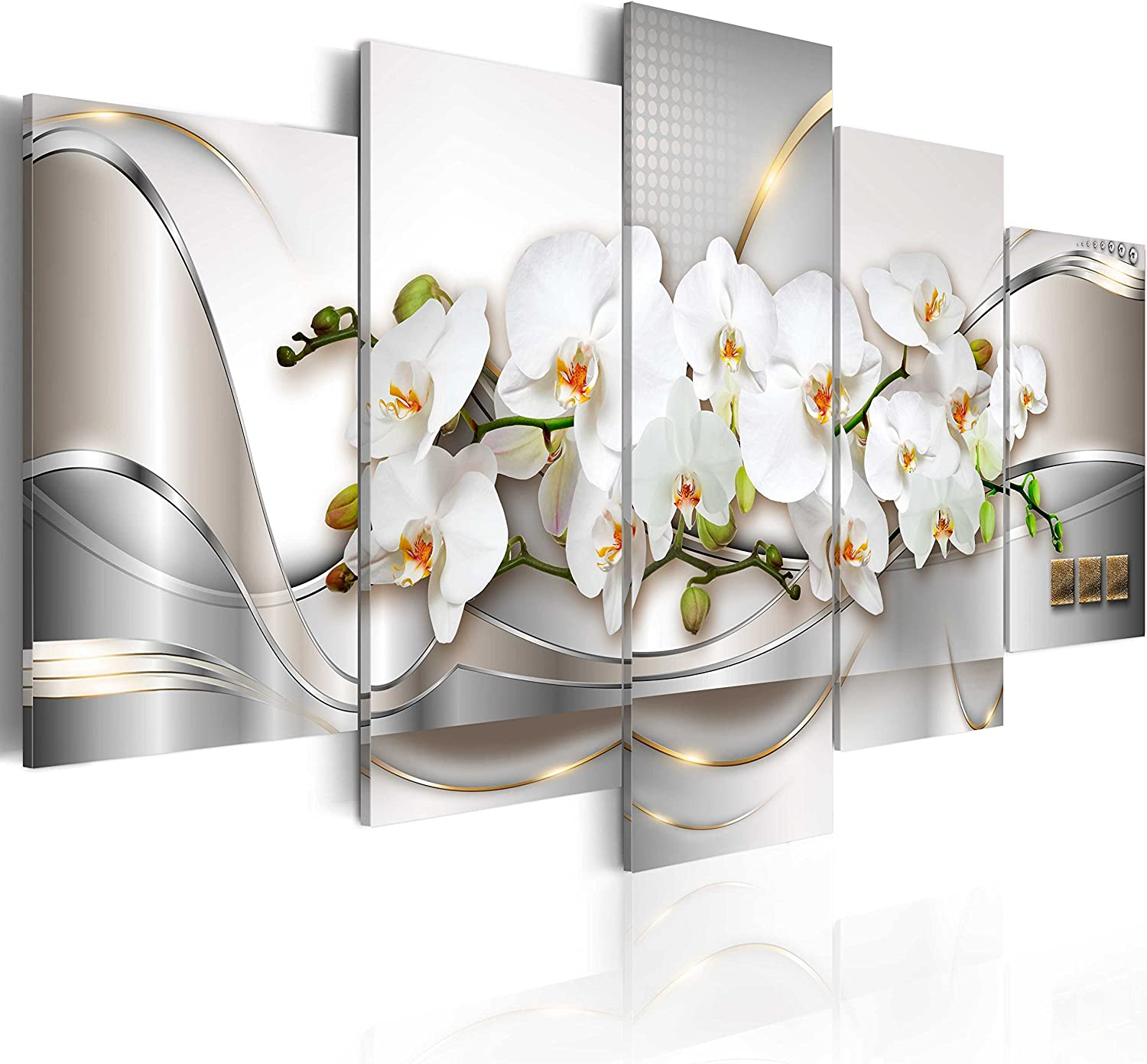 5 Panel Butterfly Orchid Flowers Canvas Print Wall Art Painting Decor for Home Decoration Picture for Bedroom Framed Ready to Hang White Floral Artwork 40x20