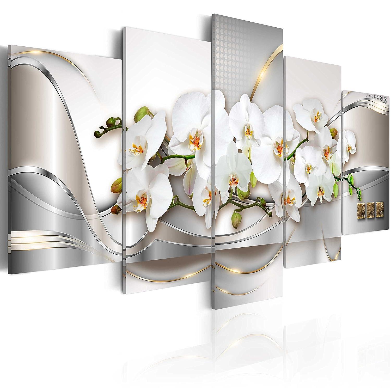 鮮やかなフラワーパールOrchidsキャンバス壁アート現代の装飾5ピース印刷ペイントホワイトフローラルHD画像寝室リビングルームFramedハングする準備 overall 60