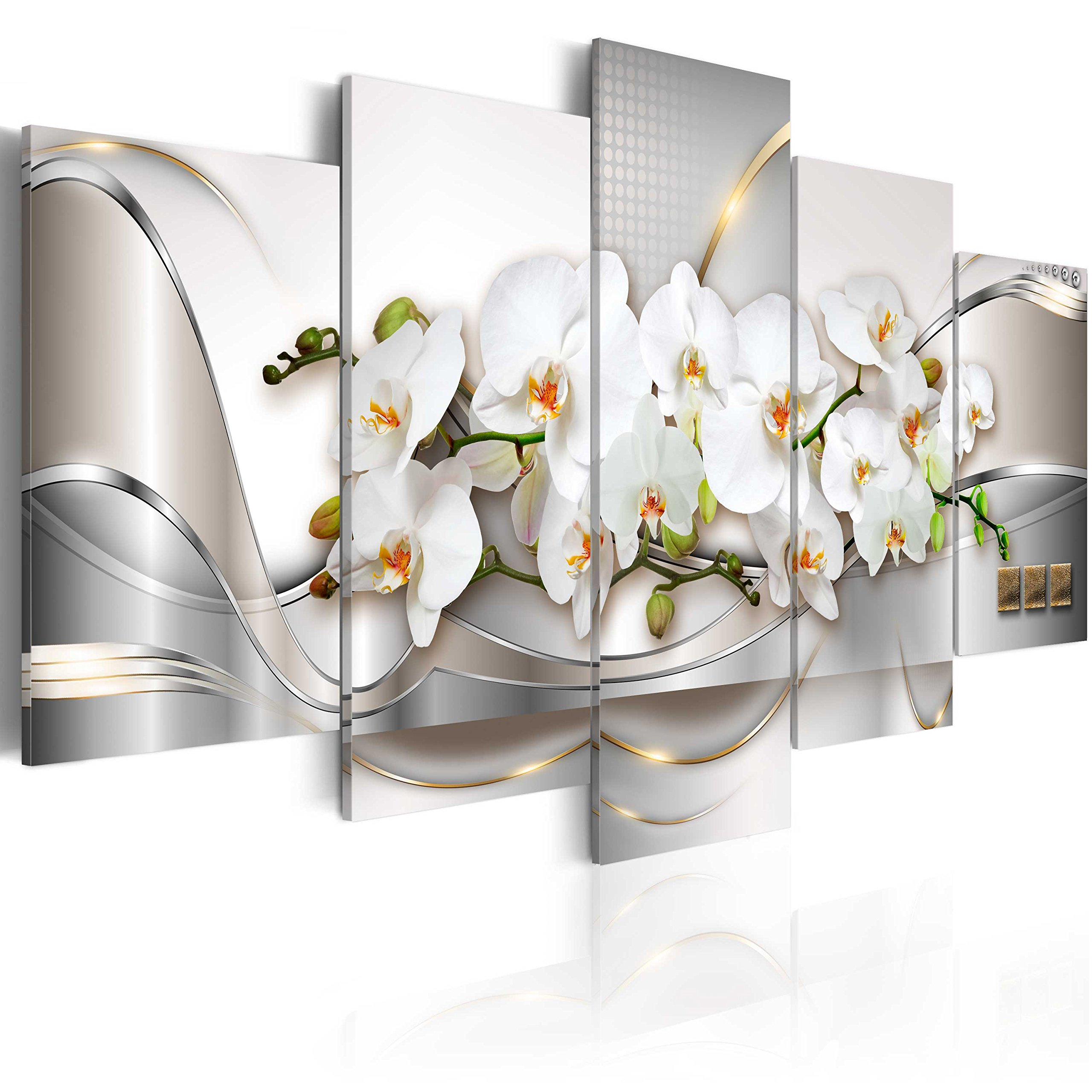"""Everlands Art Extra Huge 5 Pieces Butterfly Orchid Flowers Canvas Print Wall Art White Floral Painting Decor Oversize Picture for Living Stretched Framed Artwork (80""""x 40"""", Ocean of Innocence)"""