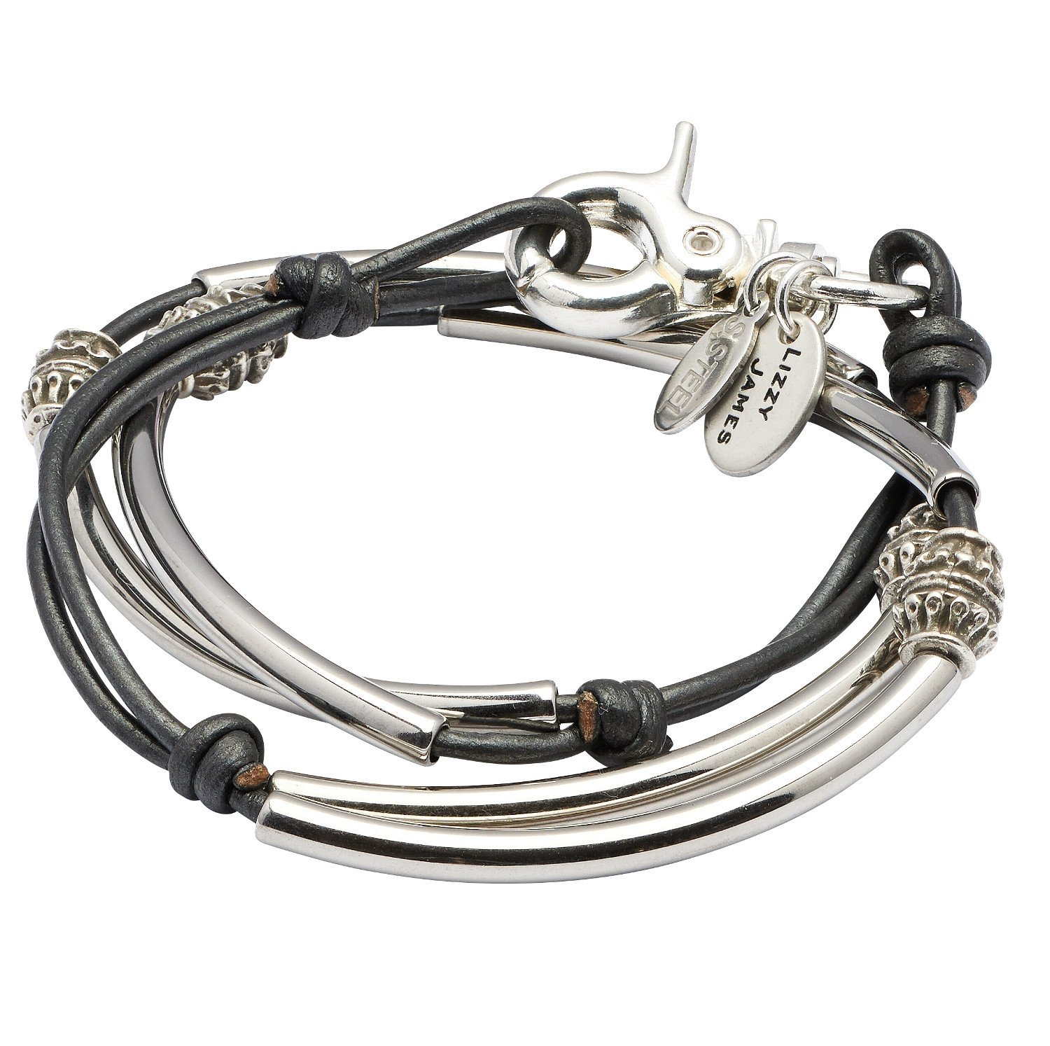 Mini Alex in Stainless Steel Medium Bracelet With Metallic Gunmetal Leather by Lizzy James