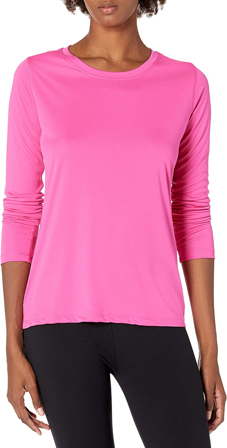 Hanes Women's Sport Cool Dri Performance Long Sleeve Tee, Wow Pink, X Large