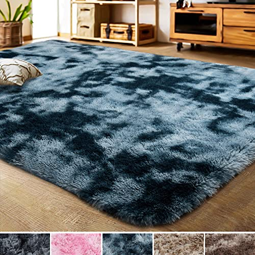 LOCHAS Luxury Velvet Shag Area Rug Modern Indoor Fluffy Rugs, Extra Comfy and Soft Carpet, Abstract Accent Rugs for Bedroom Living Room Home Girls Kids, 4×6 Feet Peacock Blue