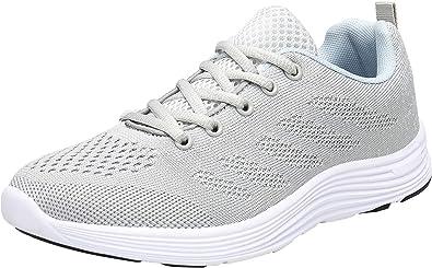 KOUDYEN Zapatillas Deporte Hombres Mujer Gimnasio Running Zapatos para Correr Transpirables Sneakers (EU44, C Gris): Amazon.es: Zapatos y complementos