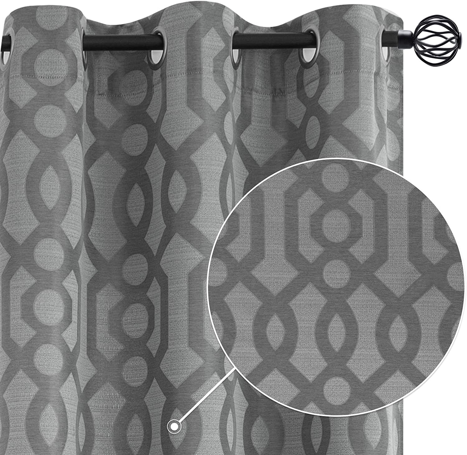 Curtains Gray 84 inch Long Bedroom Living Room Window Treatment Curtain Set Jaccuard Tile Design Grommet Top Light Filtering Drapes 2 Panels