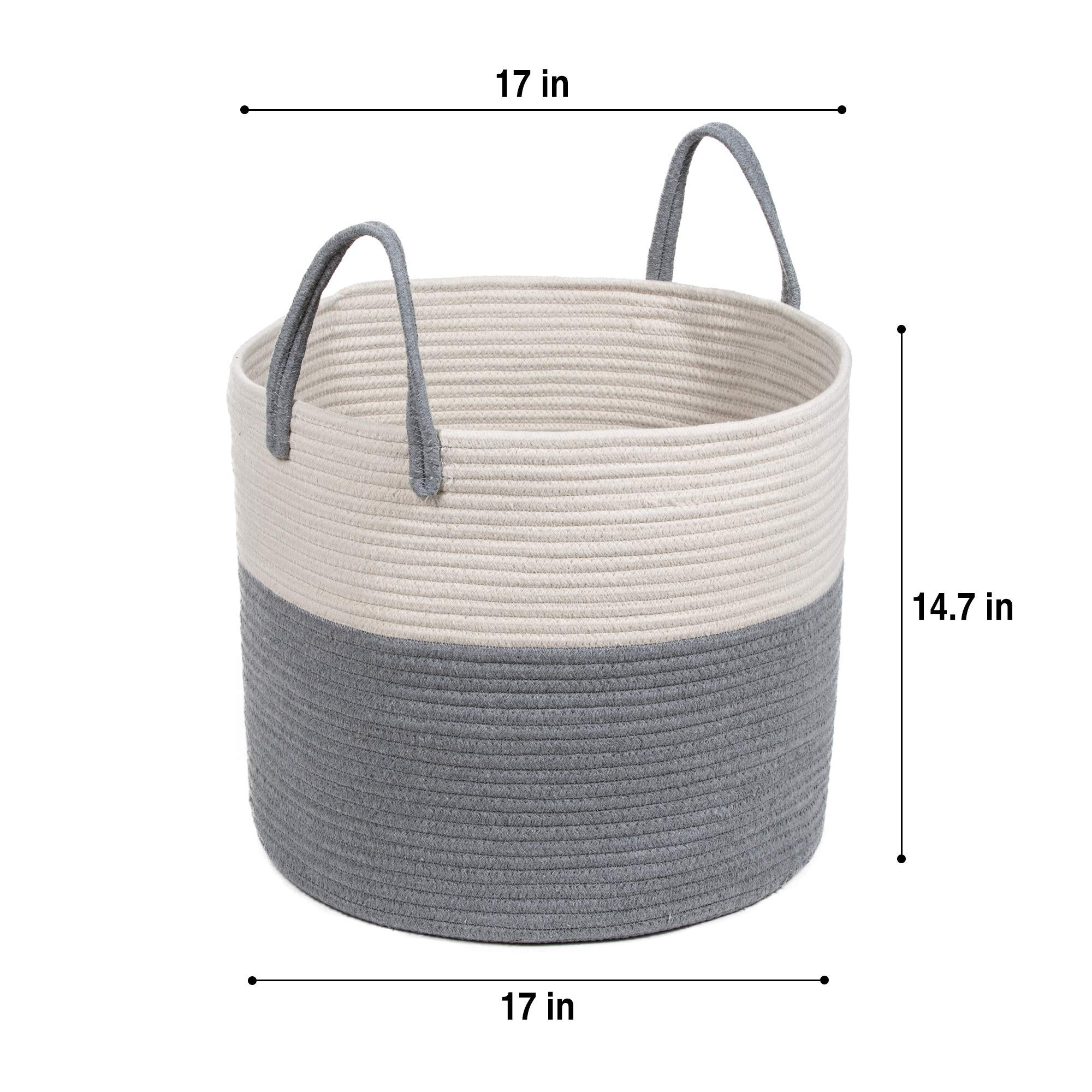 Extra Large Cotton Rope Basket 17 x 14.7 with Handles, for Baby Laundry Basket Woven Blanket Basket Nursery Bin by YOONLIVING (Image #2)