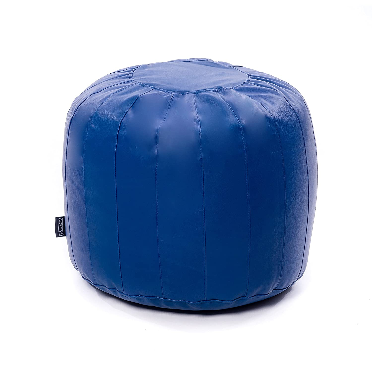 Shopisfy Moroccan Faux Leather Bean Bag Pouffe Footstool Seat - Royal Blue