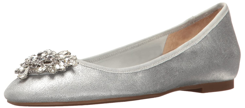 Silver Badgley Mischka Womens white Ballet Flat