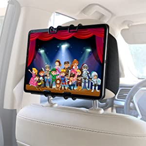 Macally Car Headrest Tablet Holder - (Upgraded) iPad Car Mount Back Seat with Viewing Angle Adjustment and Elastic Straps - Keep Your Kids Happy - Mount Vertically or Horizontally
