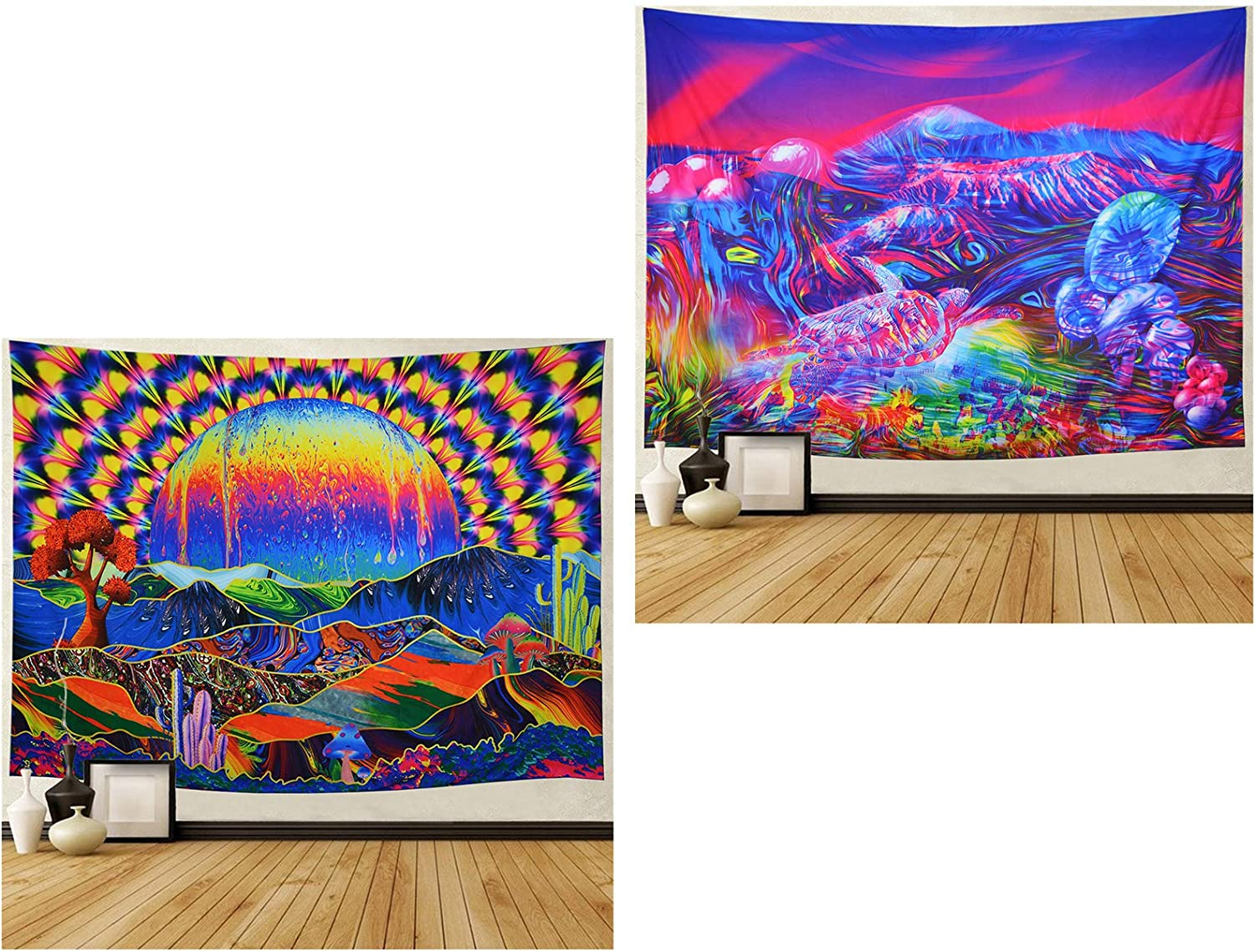Trippy Tapestry Planet and Mountains Wall Tapestry Psychedelic Tapestry Mushrooms Cactus Wall Hanging Tapestry Mountian Tree Tapestries for Living Room Dorm Decor