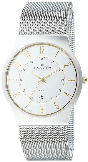 Skagen 233XLSGS - Reloj de caballero de cuarzo, correa de acero inoxidable color plata