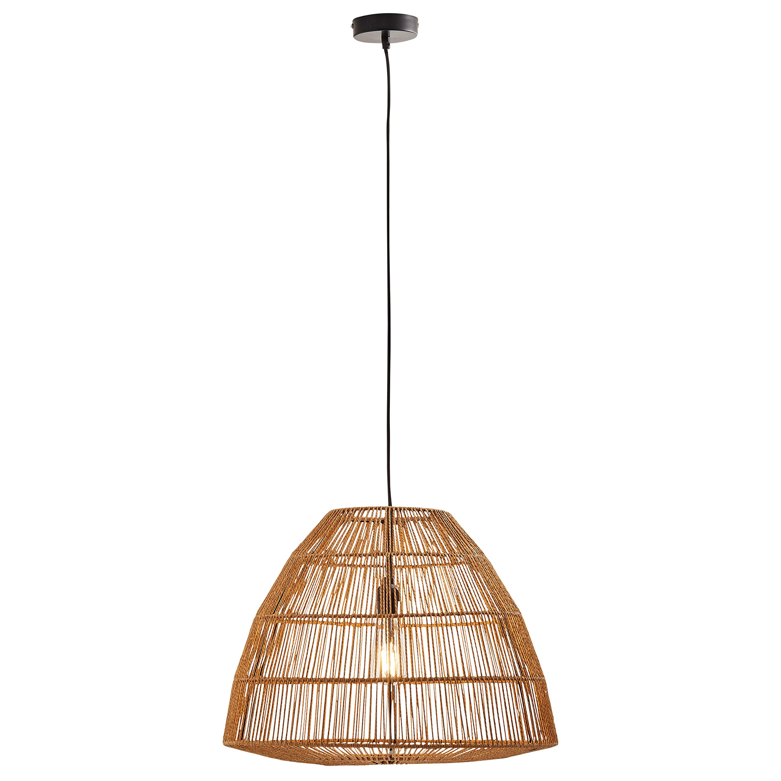 Stone & Beam Rustic Global Round Woven Pendant with Bulb, 44.5''H, Natural Rattan by Stone & Beam (Image #6)