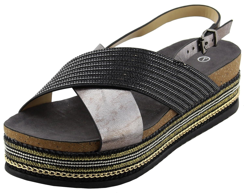 Cambridge Select Womens Open Toe Strap Crisscross Slingback Beaded Chain Mixed Media Flatform Sandal