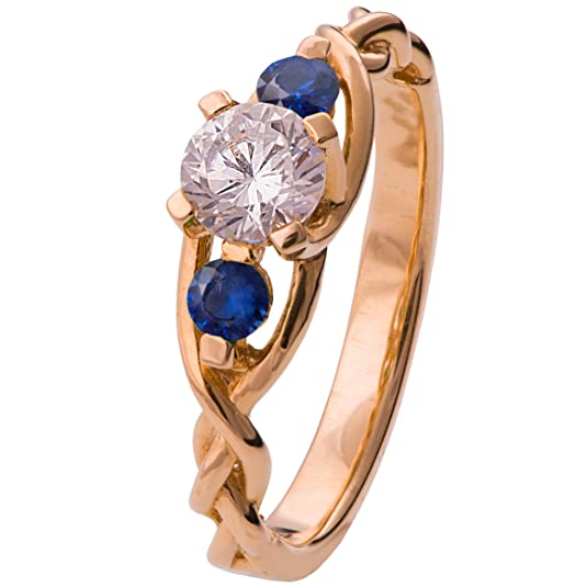 29960bec446861 18K Rose Gold Three Stone Braided Engagement Ring Set With a Diamond and  Blue Sapphires Unique Sets Woven | Amazon.com