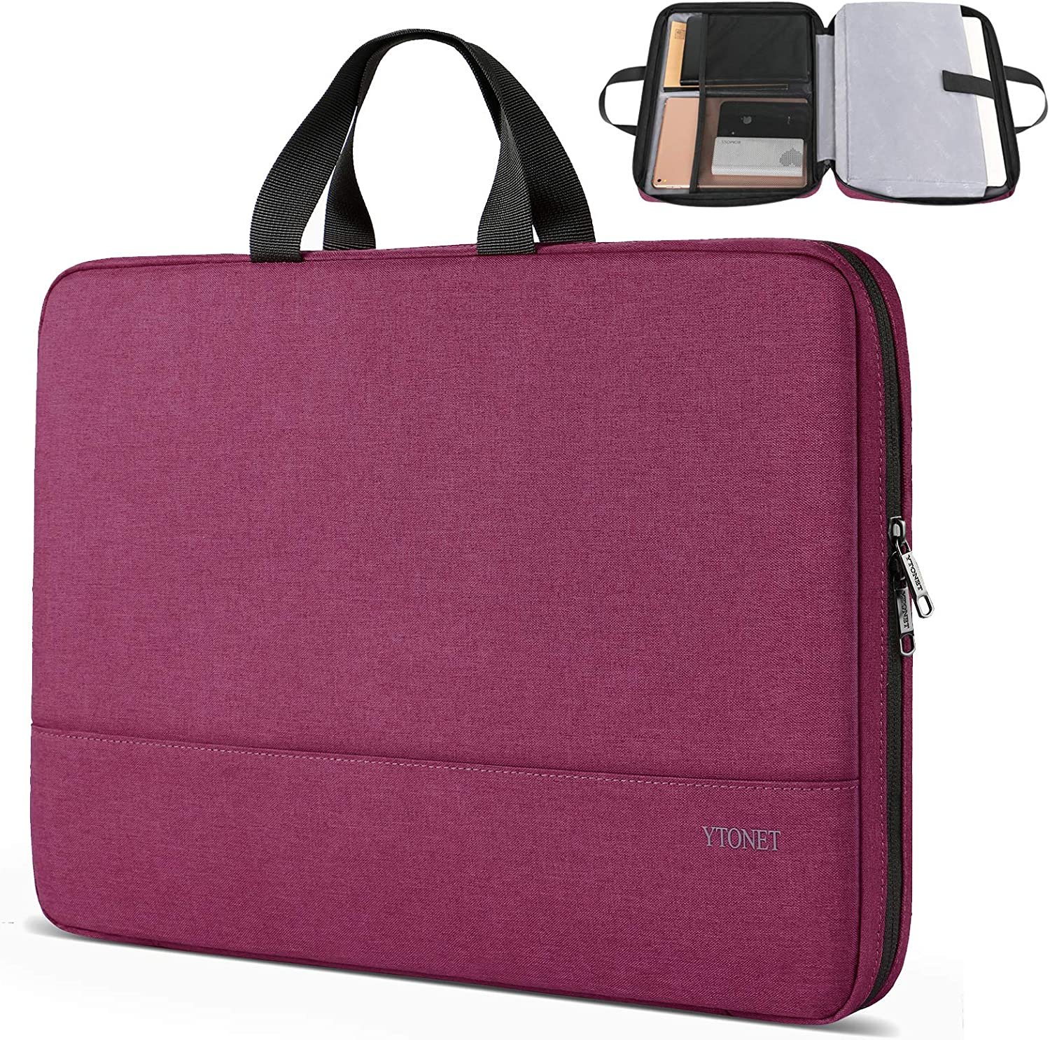 Laptop Sleeve Case, 13.3 inch TSA Slim Laptop Case, Durable Business Briefcase Water Resistant Laptop Case for 13-13.3 inch MacBook Pro, MacBook Air, HP Dell Lenovo Notebook, Purple Red