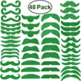 Green Mustache Beard St. Patrick's Day decorations OULII Self Adhesive Fake Mustache Costume Accessory for St Patrick's Day Party Supplies 48 Pcs