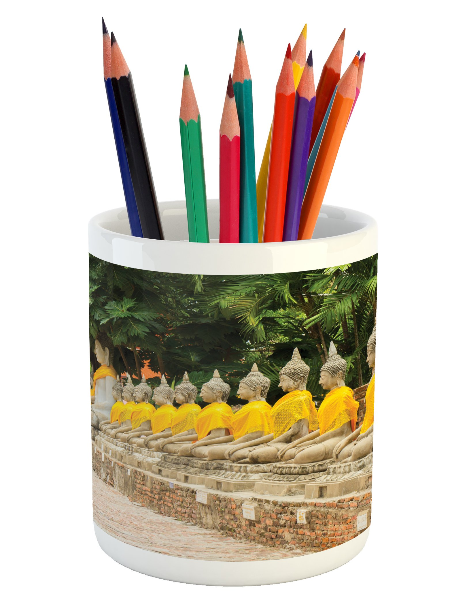 Ambesonne Asian Pencil Pen Holder, Picture of Aligned Religious Statues in Thailand Traditional Thai Design, Printed Ceramic Pencil Pen Holder for Desk Office Accessory, Cream Yellow Green by Ambesonne