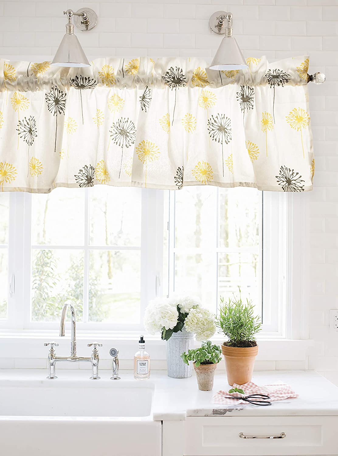 Crabtree Collection Gray Dandelion Curtain Valance for Windows (16x60)