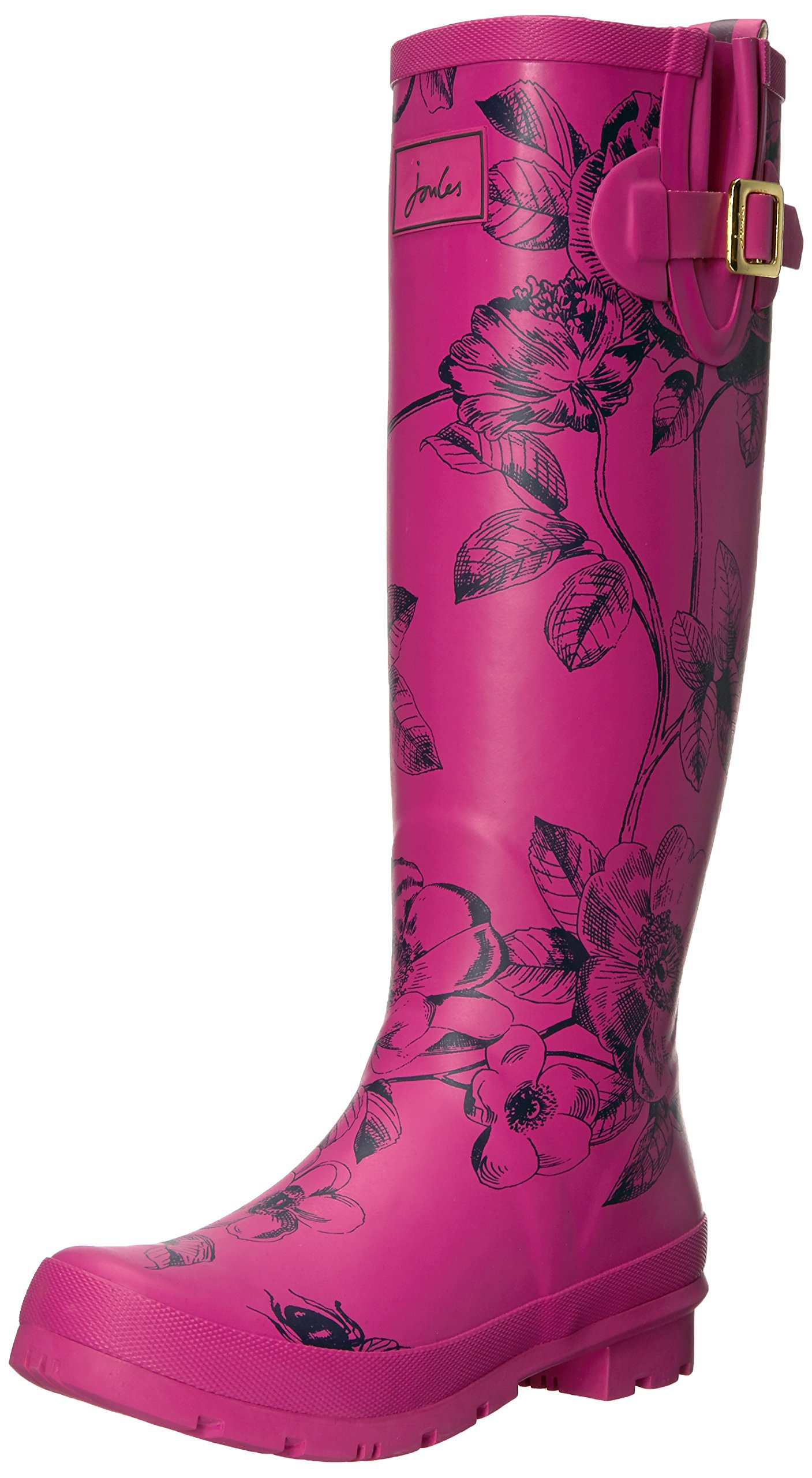 Joules Women's Welly Print Rain Boot, Pink Floral, 10 M US