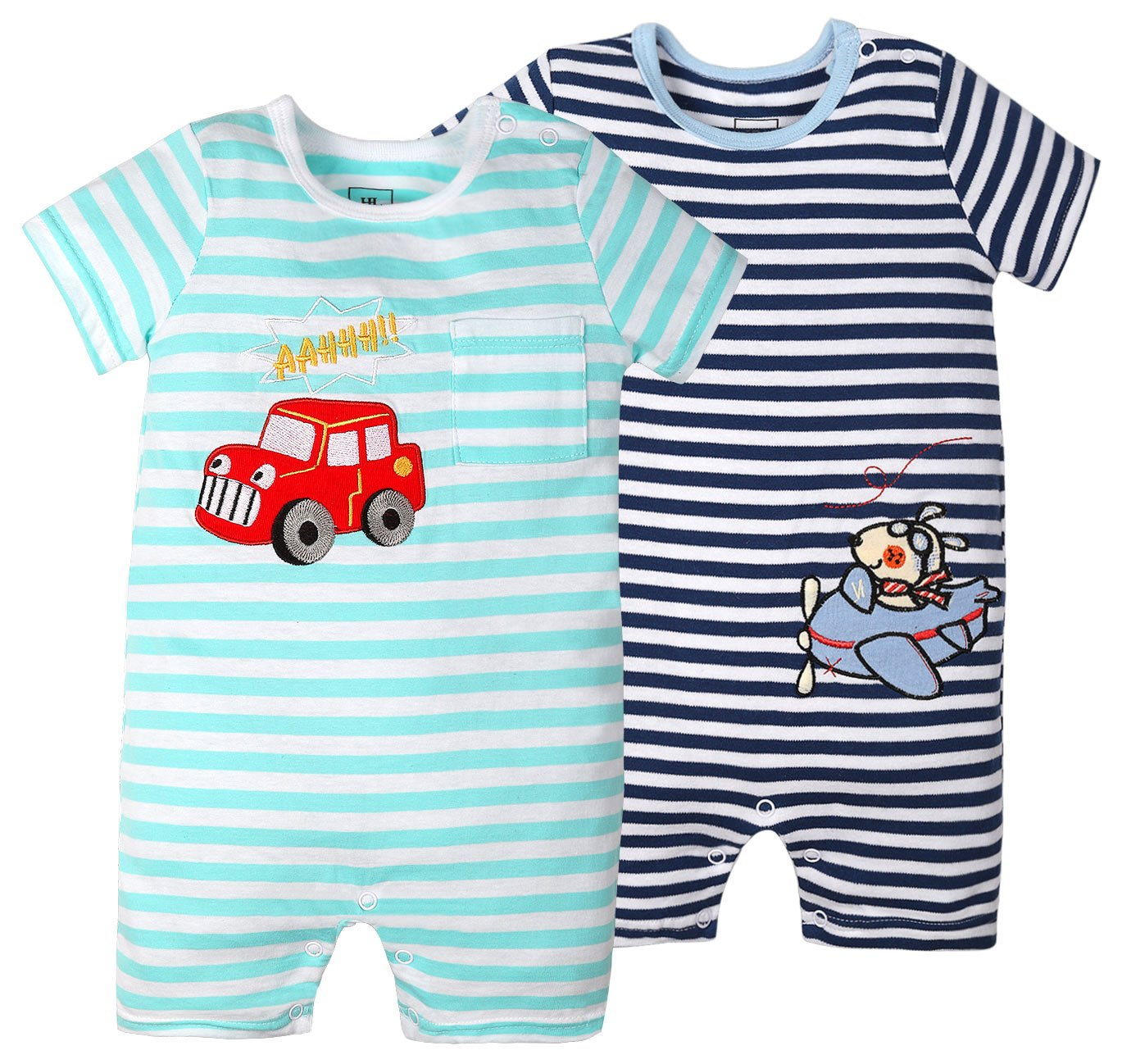 Baby Boys'2 Pack Jumpsuit Yarn-Dyed Striped Baby Onesies Set Summer (Short Jumpsuit(Plan+car), 18-24 Months)