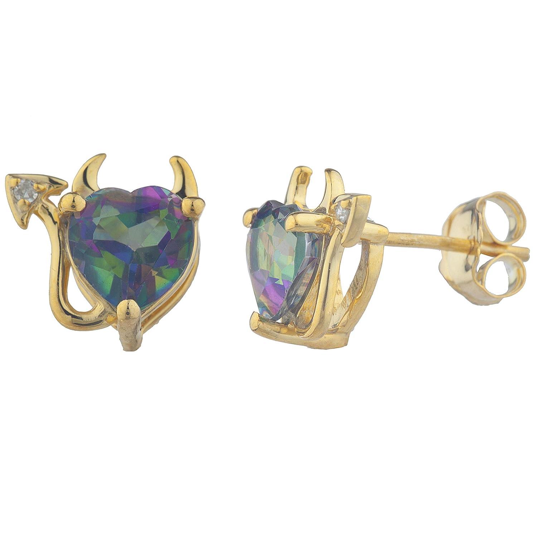 Natural Mystic Topaz /& Diamond Devil Heart Stud Earrings White Gold Silver