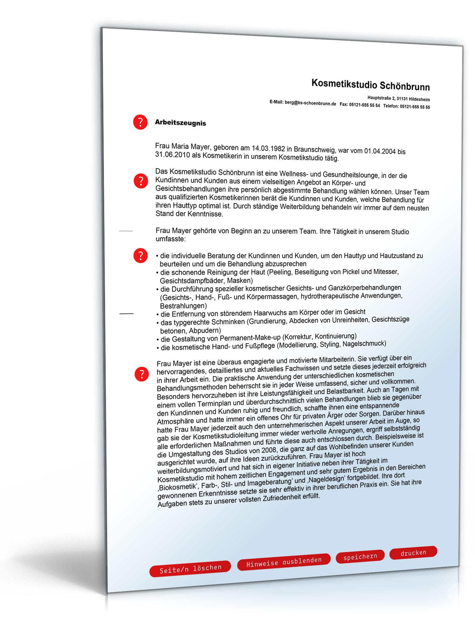 Arbeitszeugnis Kosmetikerin Note Eins [PDF Download]: Amazon.de ...